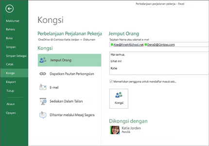 Monitor PC menunjukkan pilihan kongsi untuk lembaran Excel.