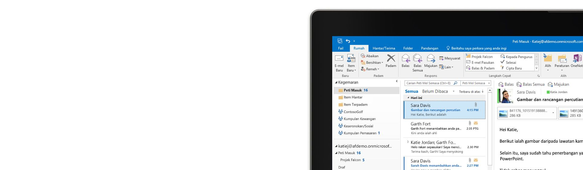 Sebuah tablet menunjukkan peti masuk Microsoft Outlook 2016 dengan senarai mesej dan pratonton
