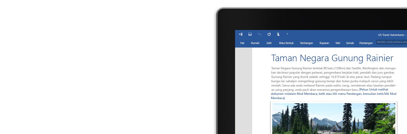 Komputer riba dengan dokumen Word pada skrin.