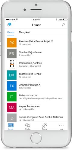 Petikan skrin SharePoint pada peranti mudah alih.