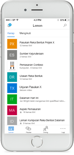 Telefon memaparkan aplikasi mudah alih SharePoint pada skrin