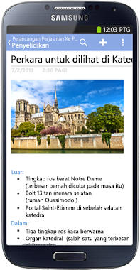 OneNote for Android Phone