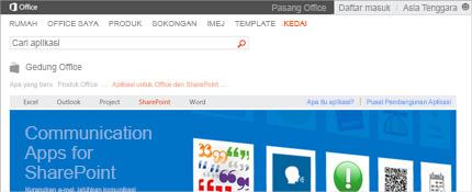 Petikan skrin halaman aplikasi SharePoint dalam Office Store.