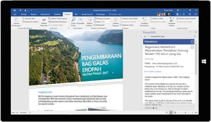 Skrin tablet menunjukkan Word Researcher digunakan dalam sebuah dokumen tentang lawatan beg galas Eropah, ketahui tentang penciptaan dokumen dengan alat Office terbina dalam Office