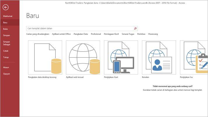 Petikan skrin bagi templat aplikasi pangkalan data.