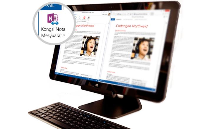 Surface book dengan kandungan mesyuarat dikongsi dipaparkan.