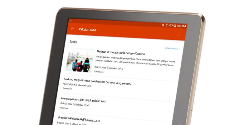 perbualan kumpulan SharePoint pada PC tablet