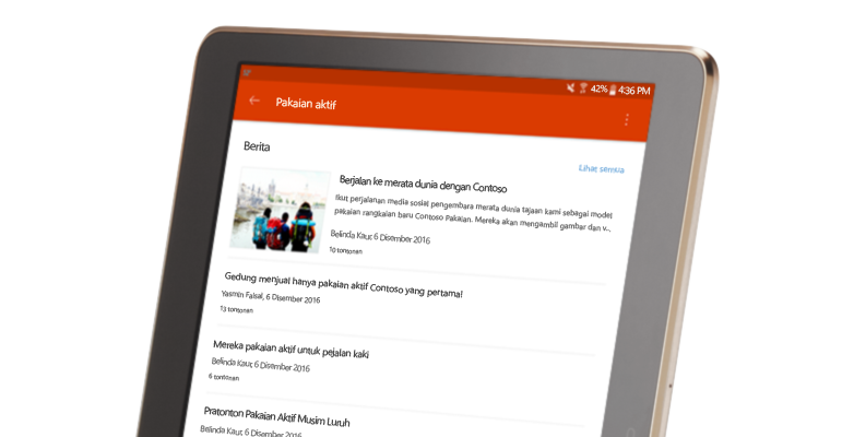 sebuah perbualan kumpulan SharePoint pada PC tablet