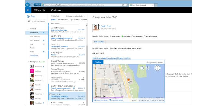 Tangkapan dekat peti masuk pengguna dalam Outlook pada web, dikuasakan oleh Exchange.