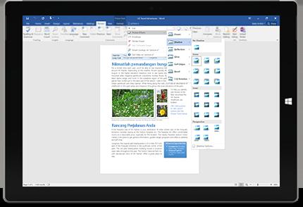 Surface menunjukkan ciri Beritahu Saya baru dalam dokumen Word.