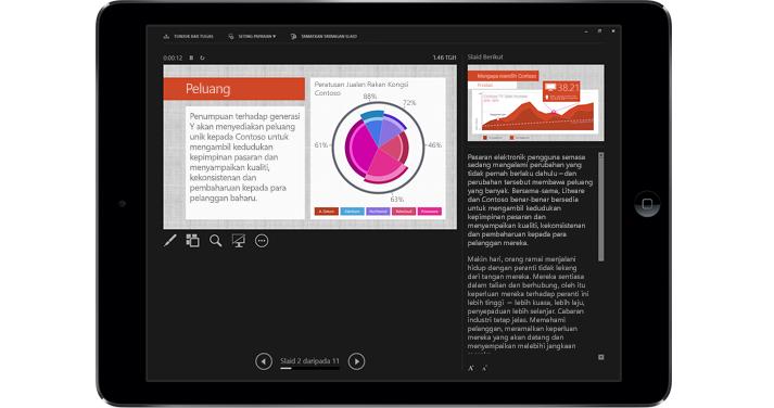 Tablet menunjukkan slaid PowerPoint dalam mod Persembahan dengan tanda.