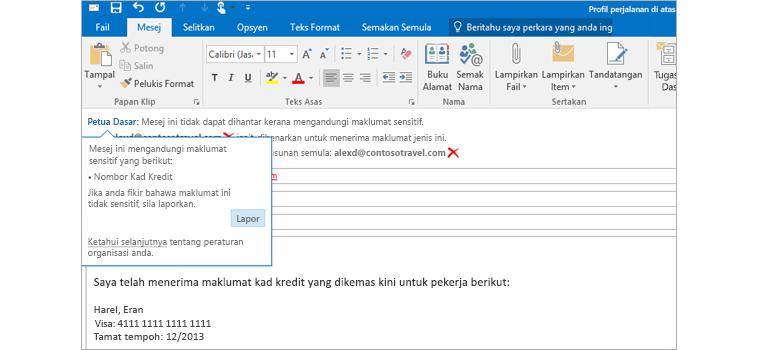 Tangkapan dekat mesej e-mel dengan Petua Dasar untuk membantu dalam mengelakkan penghantaran maklumat sensitif.