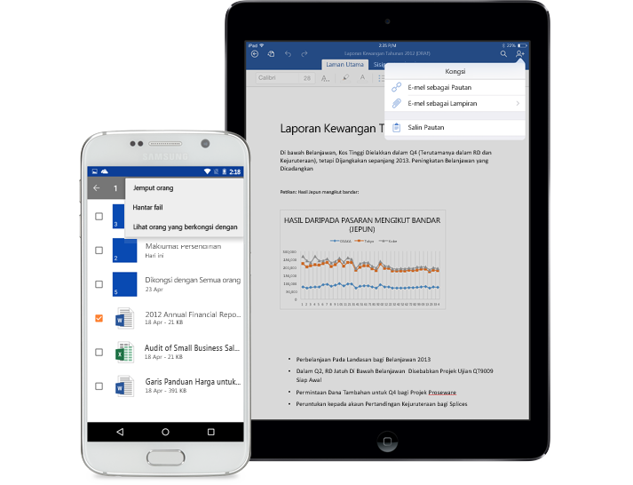 Tablet dan telefon pintar menunjukkan menu kongsi dalam OneDrive for Business.