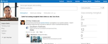 Petikan skrin suapan berita SharePoint dengan opsyen Berkongsi dengan semua orang ditunjukkan.