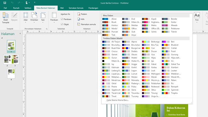 Petikan skrin bagi penerbitan Publisher dengan alatan gambar ditunjukkan pada reben.