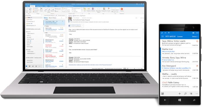Tablet dan telefon pintar menunjukkan peti masuk e-mel Office 365.