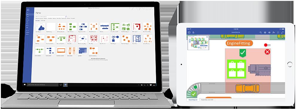 Gambar rajah Visio Pro for Office 365 yang ditunjukkan pada Surface dan iPad.