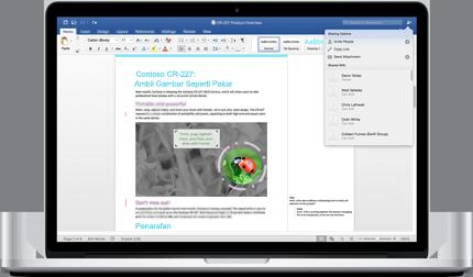 Komputer riba menunjukkan dokumen Word dengan komen dan menu Opsyen Perkongsian.