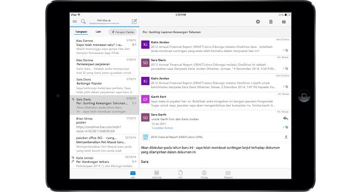 Tablet menunjukkan peti masuk tanpa iklan dengan Office 365.