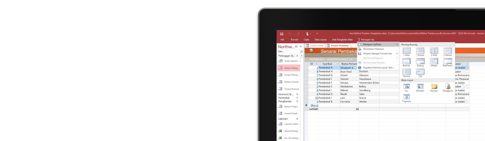 Sudut skrin komputer memaparkan senarai pembekal dalam pangkalan data di Microsoft Access.
