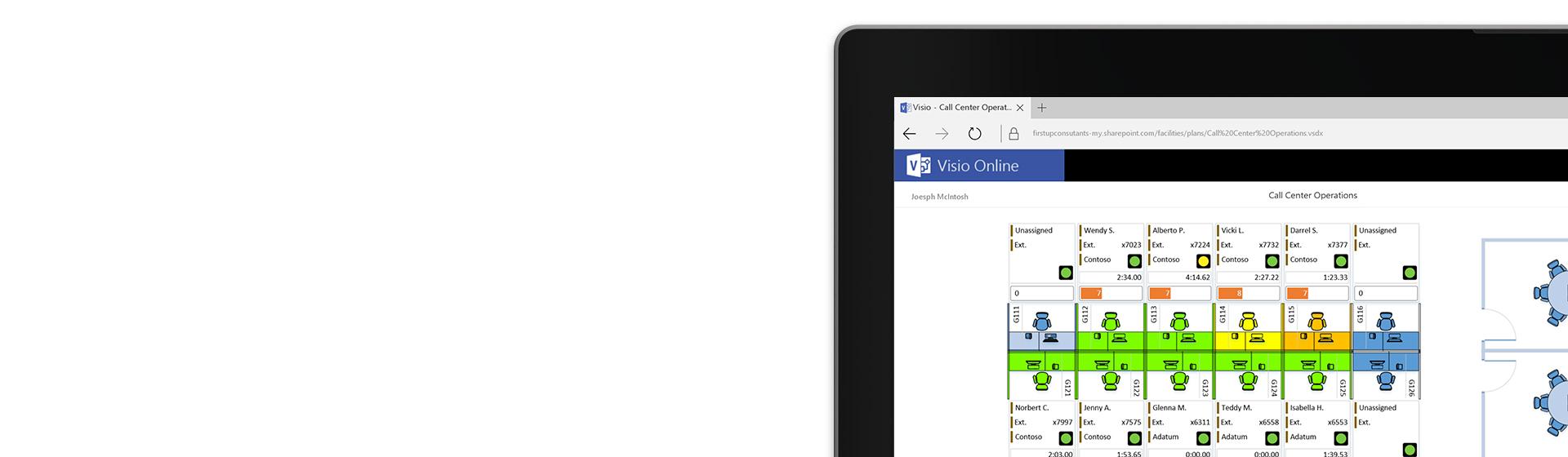 Sudut skrin tablet memaparkan gambar rajah pelan lantai pusat panggilan dalam Visio