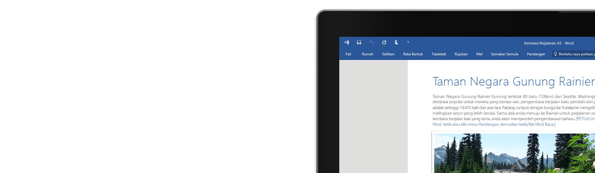 Sudut skrin komputer riba memaparkan dokumen Word yang memerihalkan lokasi dan statistik Taman Negara Gunung Rainier.