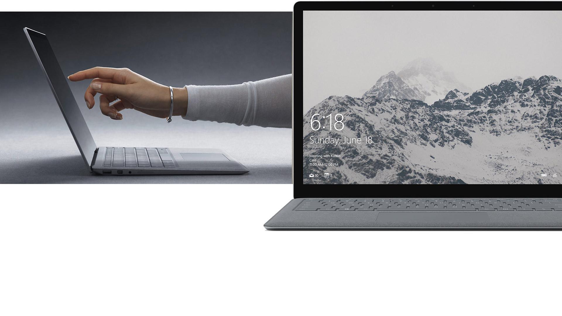 Wanita bekerja menggunakan skrin sentuh Surface Laptop.