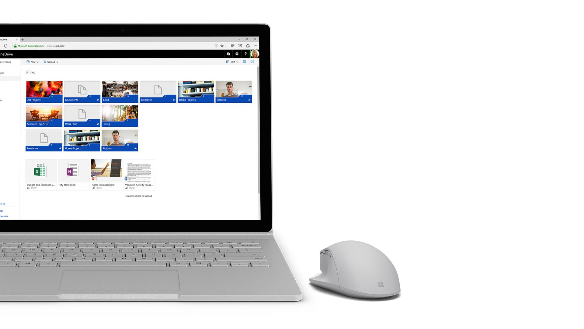 Petikan skrin OneDrive pada Surface.