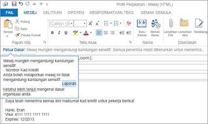 Tangkapan dekat Petua Dasar dalam e-mel mengelakkan pengguna daripada menghantar maklumat sensitif.