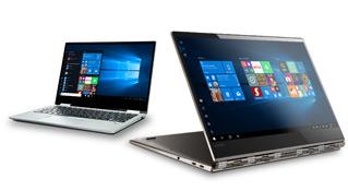 En bærbar Windows 10-datamaskin og en 2-i-1-enhet ved siden av hverandre