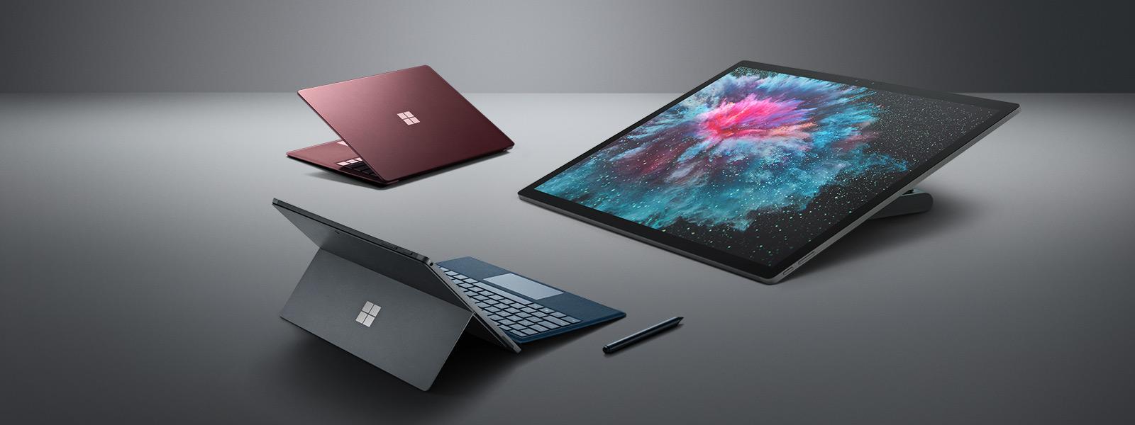Surface Laptop 2, Surface Pro 6,Surface Studio 2