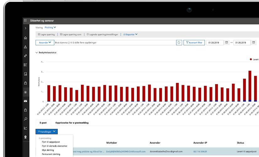 Nærbilde av en bærbar datamaskin som viser en skjerm med sikkerhet og samsvar, med en graf som viser status for beskyttelse