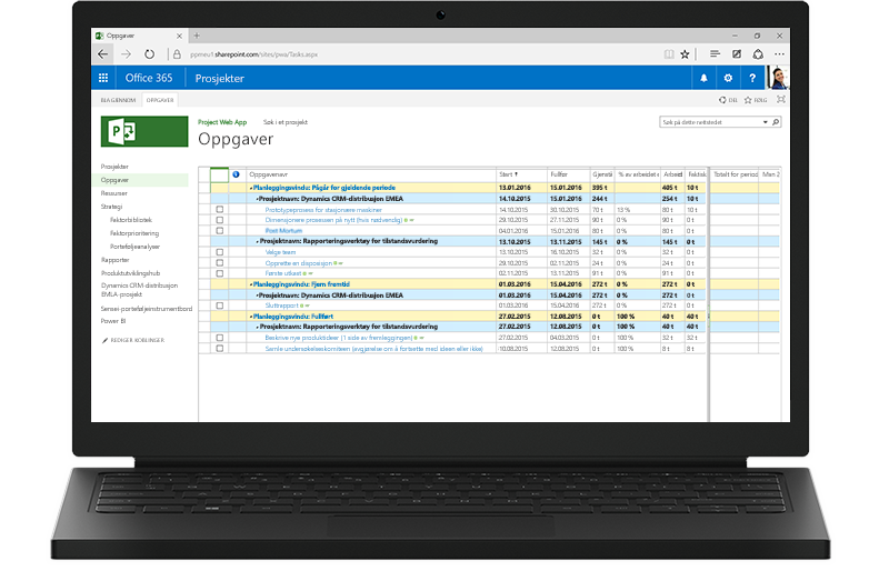 En bærbar datamaskin som viser en Project-oppgaveliste i Office 365 på skjermen.