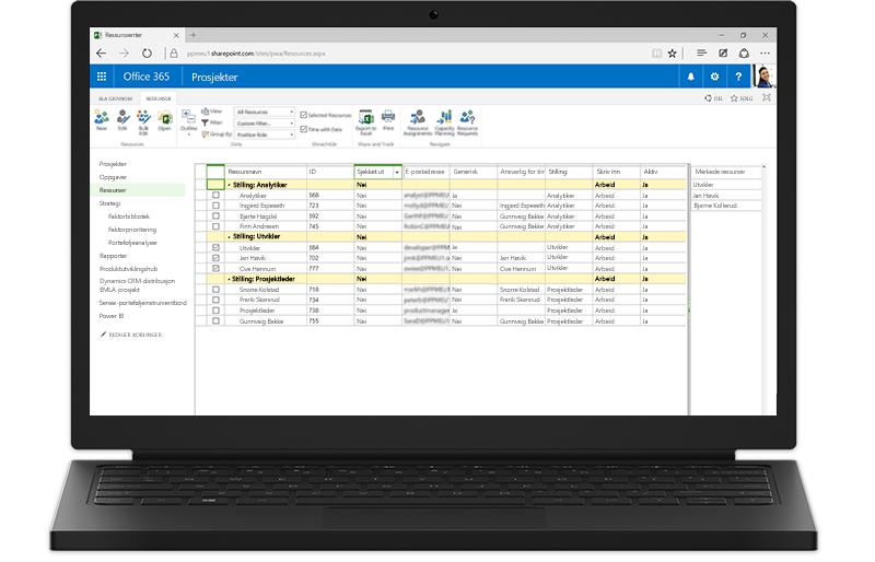 En bærbar datamaskin viser SharePoint-baserte funksjoner i Project Server