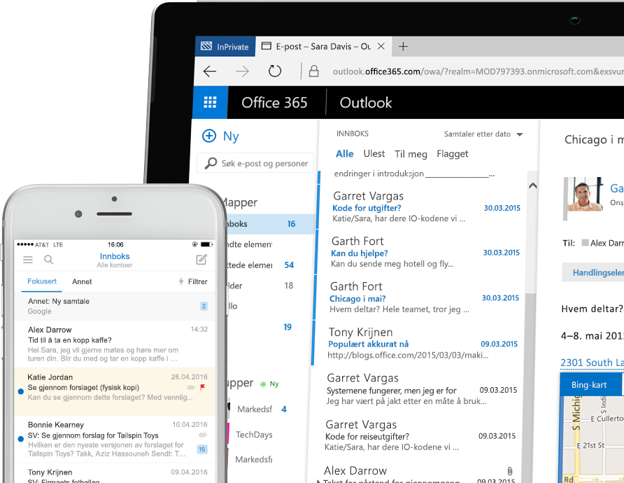 Exchange 2016 på en smarttelefon og et Windows-nettbrett