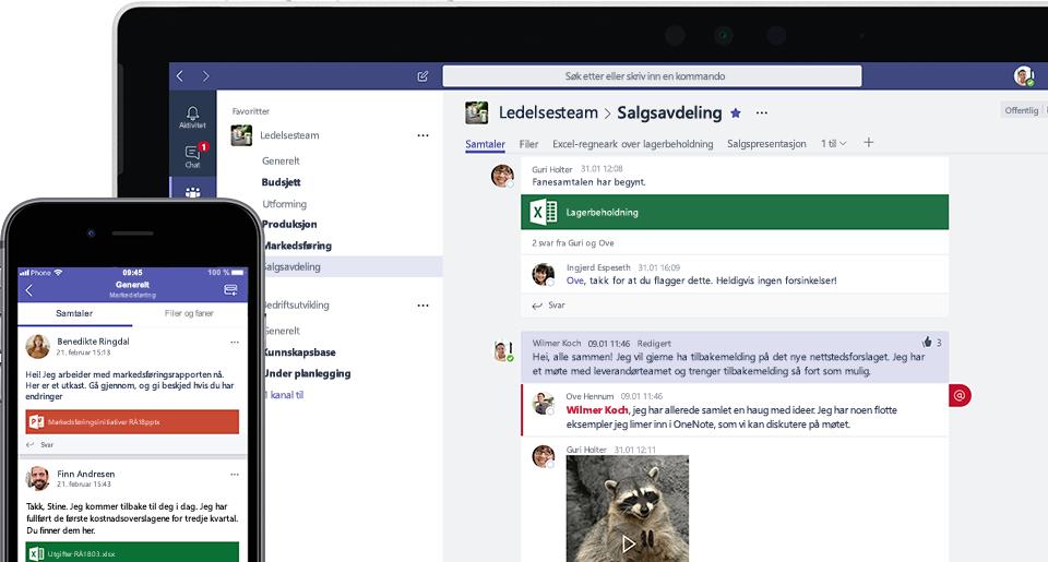 Bilde av Teams-skjermen på mobil og bærbar PC