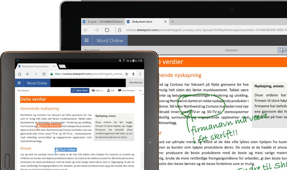 En bærbar datamaskin og et nettbrett som kjører Word på nettet