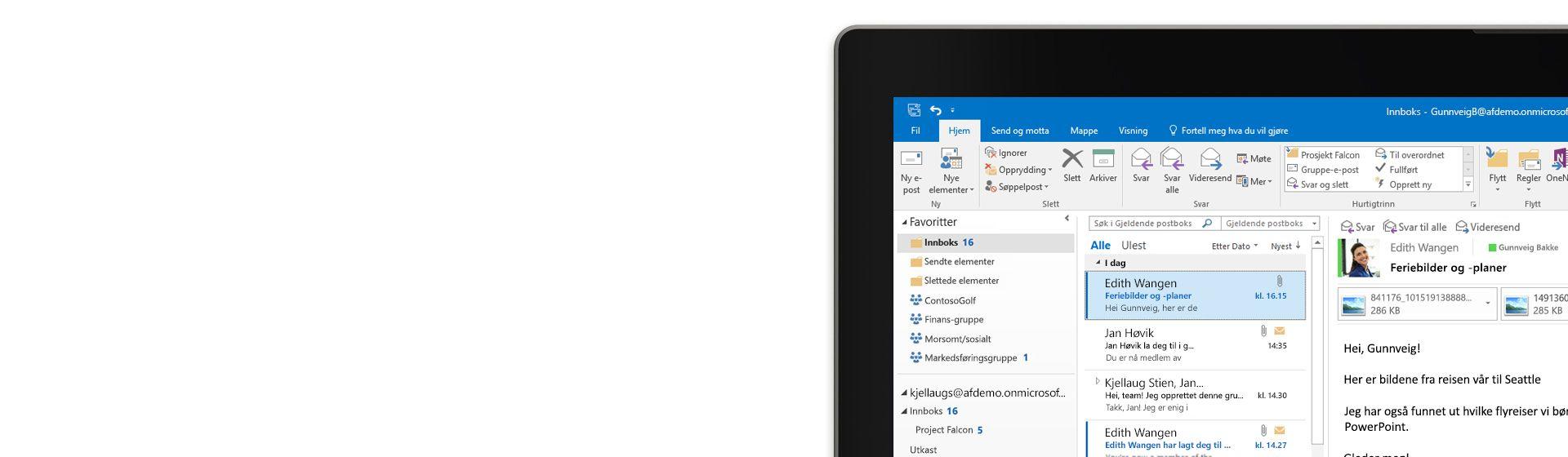 Et nettbrett viser innboksen med en meldingsliste og forhåndsvisning i Outlook 2016