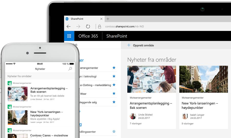 SharePoint med nyheter på en smarttelefon og med nyheter og nettstedskort på et nettbrett