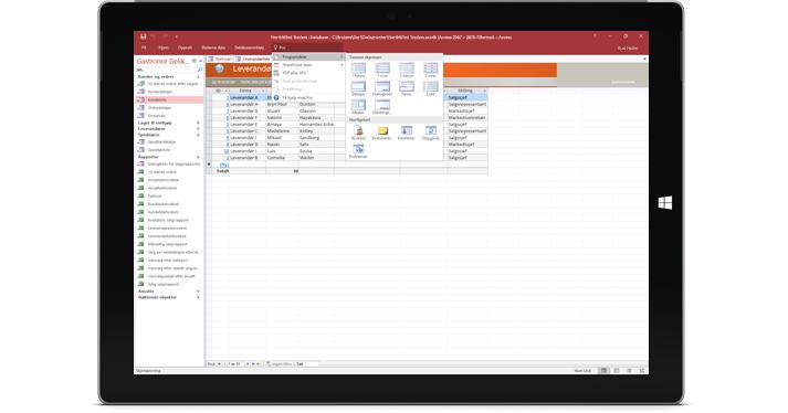 Et nettbrett som viser en Access-database