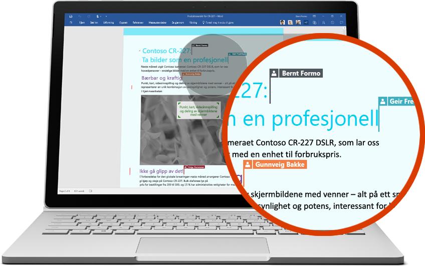 Bæbar datamaskin som viser et Word-dokument med nærbilde av et avsnitt som viser flere brukere som redigerer, spill av video på siden om samarbeid med Office 365