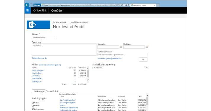 Nærbilde av en liste over forhåndsviste resultater fra Exchange Online-arkivering.