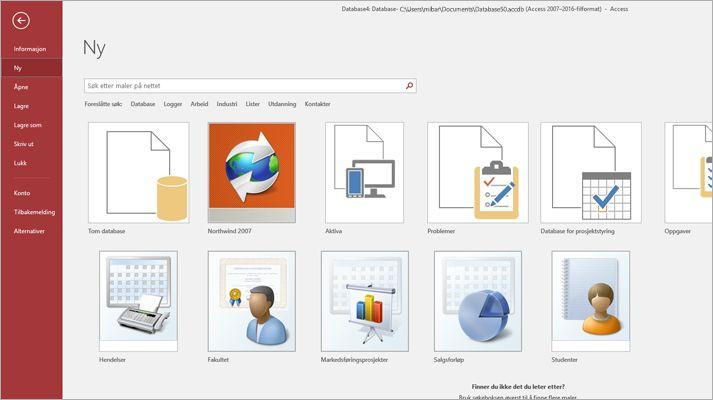 Det nye databaseskjermbildet i Microsoft Access