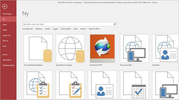 Et skjermbilde av en mal for databaseapp.