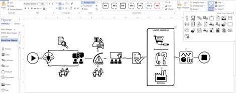 Skjermbilde av et Visio-diagram med alternativer for å tilpasse utformingen.