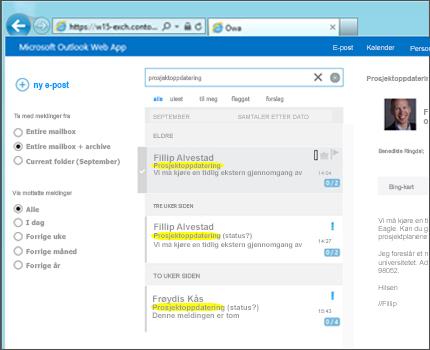 Nærbilde av en brukers innboks i Outlook Web App.