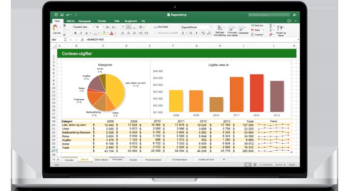 En MacBook som viser et Excel for Mac-regneark med diagrammer