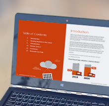 Bærbar datamaskin med en e-bok på skjermen, som laster ned den gratis e-boken Trendrapport: Hvorfor bedrifter flytter til skyen