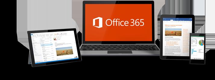 Et Windows-nettbrett, en bærbar datamaskin, en iPad og en smarttelefon som kjører Office 365.