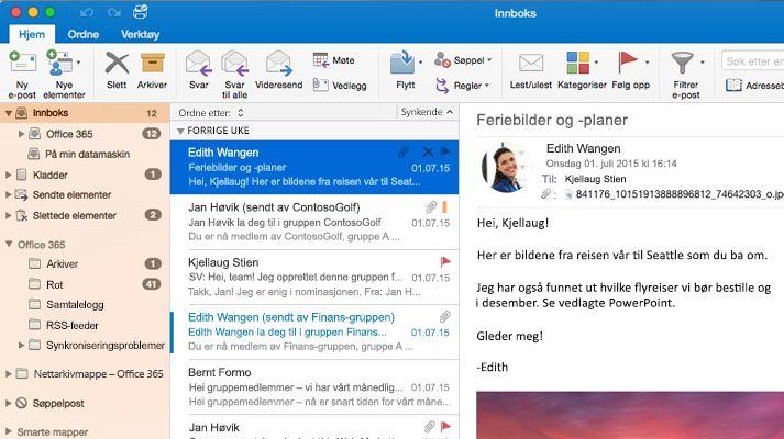 Et skjermbilde av en Microsoft Outlook 2016-innboks med en meldingsliste og forhåndsvisning.